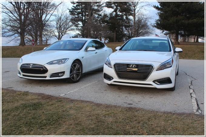 Hyundai Sonata-Hybrid и Tesla Model S - конкренты